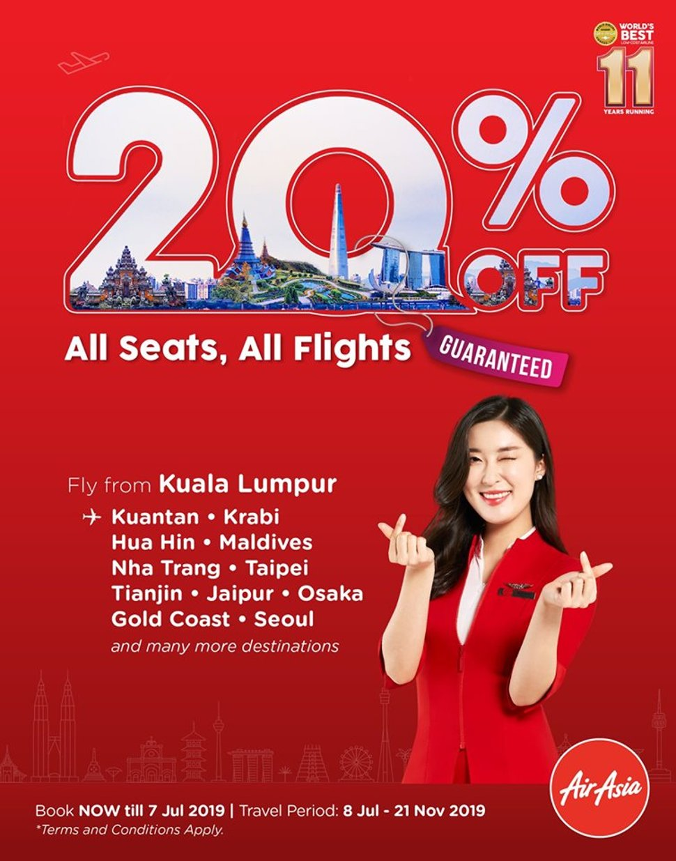 20% OFF, ALL SEATS, ALL FLIGHTS