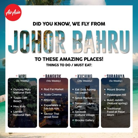 Fly from Johor Bahru
