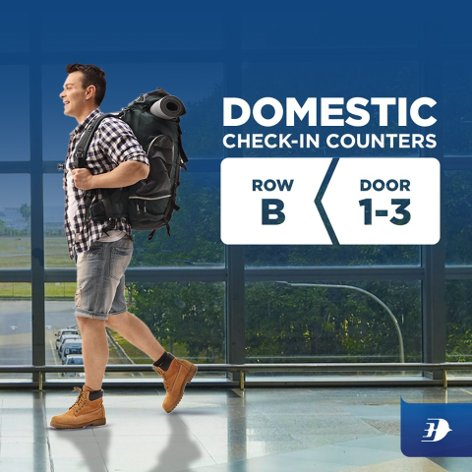 Domestic Check-in counters: Row B Door 1-3