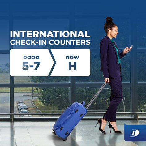 International Check-in counters: Row H Door 5-7