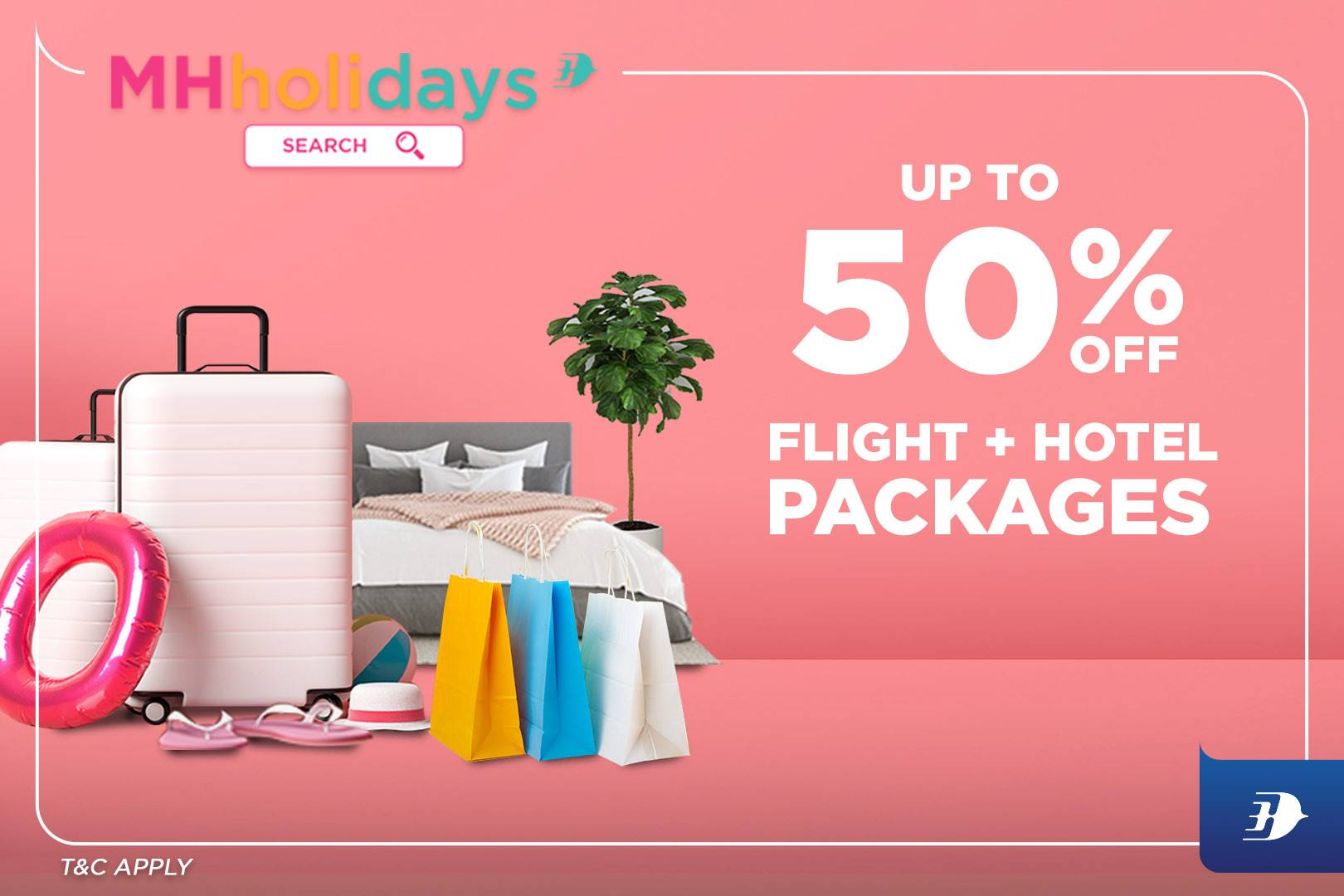 Up to 50% off flight + hotel packages