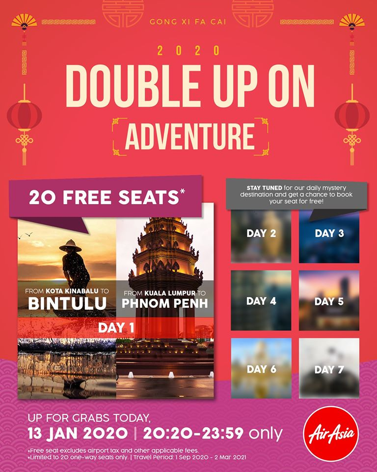 20 Free Seats - BINTULU and PHNOM PENH