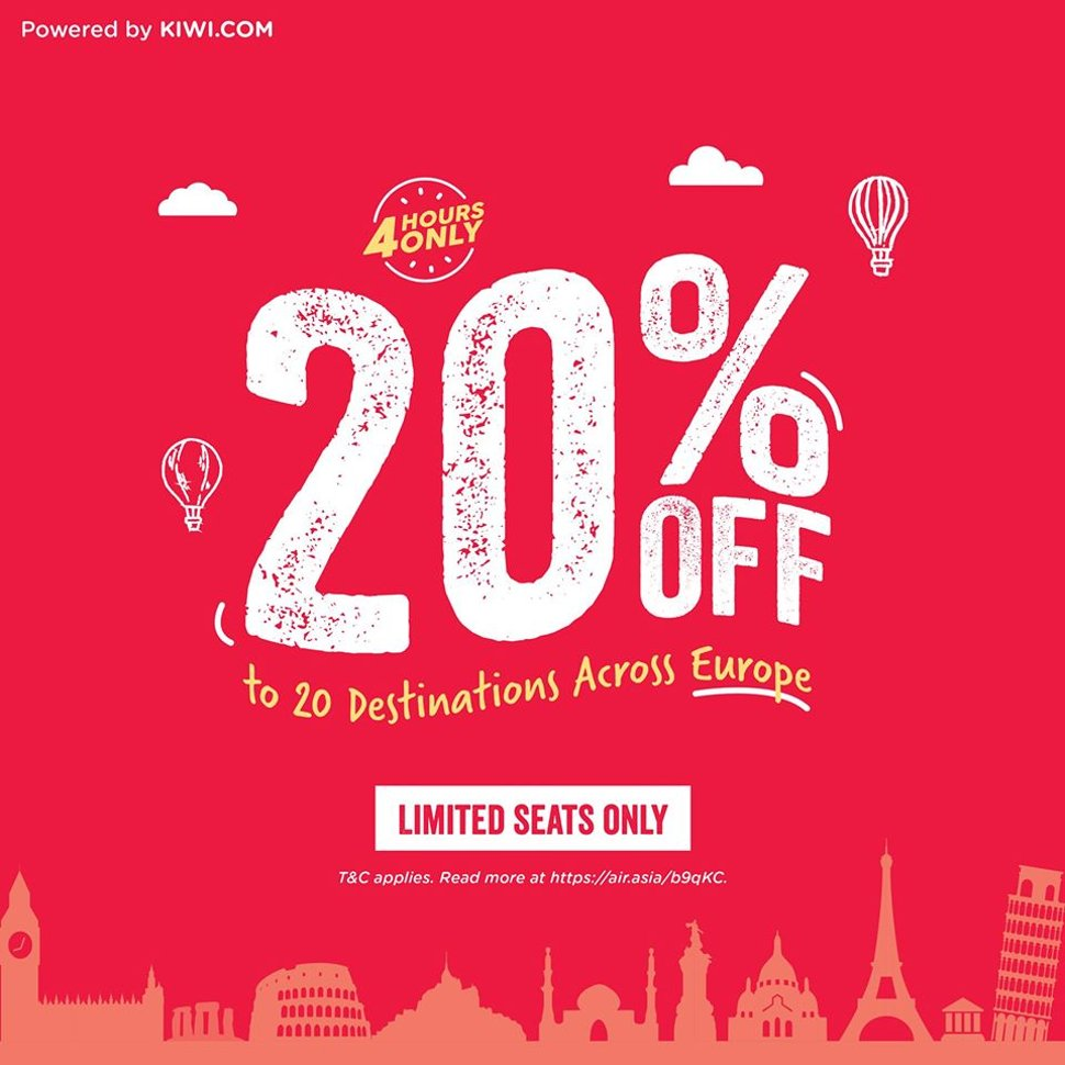 20% off to 20 destinations across Europe