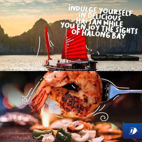 Indulge yourself in delicious Hai San while you enjoy the sights of Halong Bay