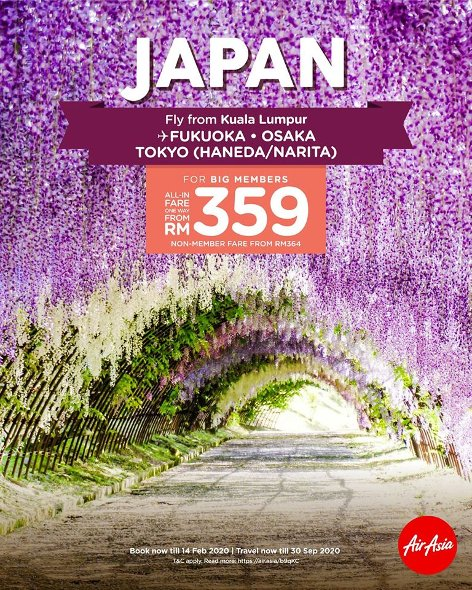Fly from Kuala Lumpur to Japan