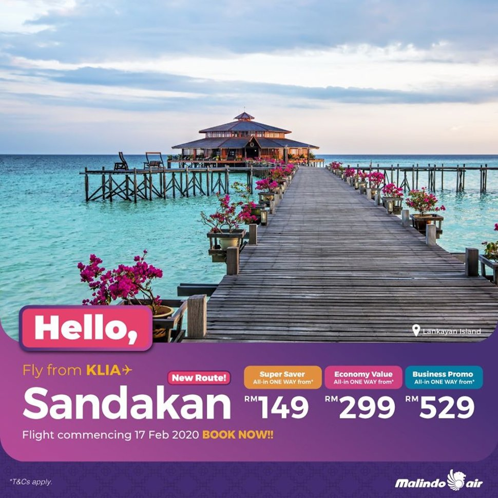 Fly from KLIA to Sandakan