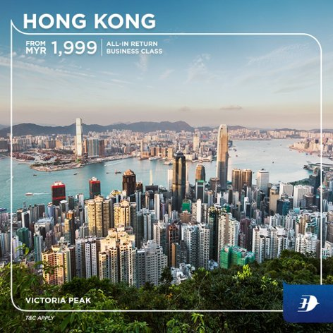 All-in return business class ticket to Hong Kong from MYR1,999