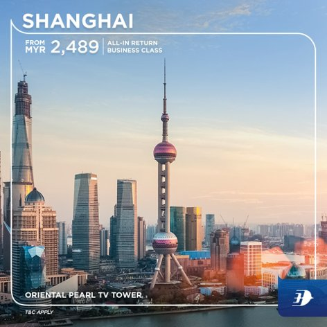 All-in return business class ticket to Shanghai from MYR2,489