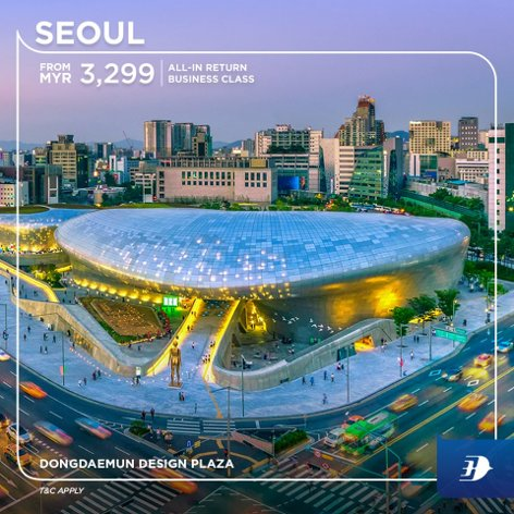 All-in return business class ticket to Seoul from MYR3,289