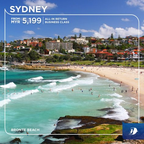 All-in return business class ticket to Sydney from MYR5,199