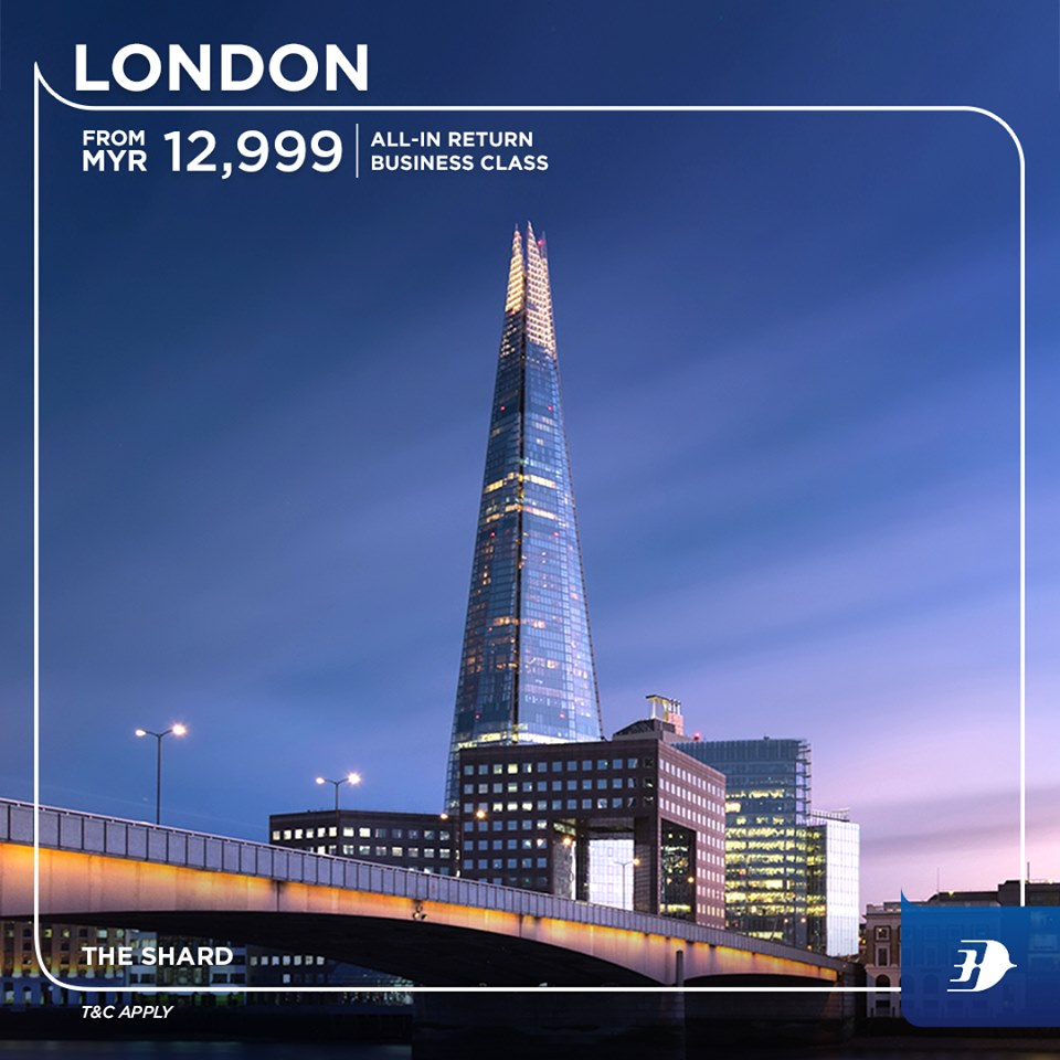 All-in return business class ticket to London from MYR12,999