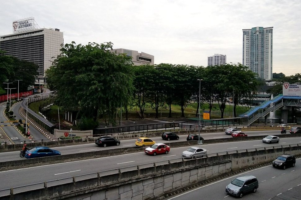 View of surrounding area from boarding level at LRT station