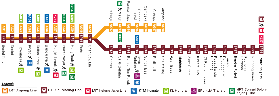 Ampang Line LRT route map