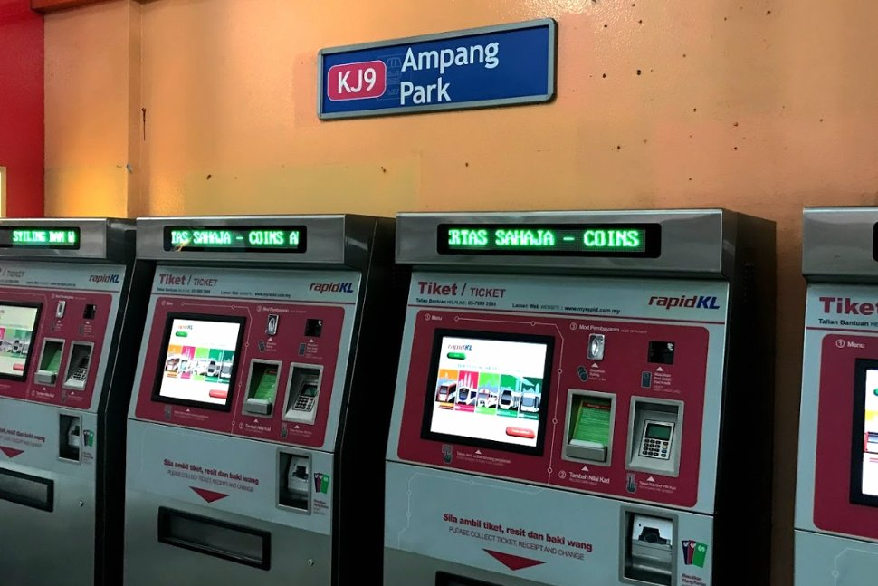 Ticket vending machines at the Ampang Park LRT Station