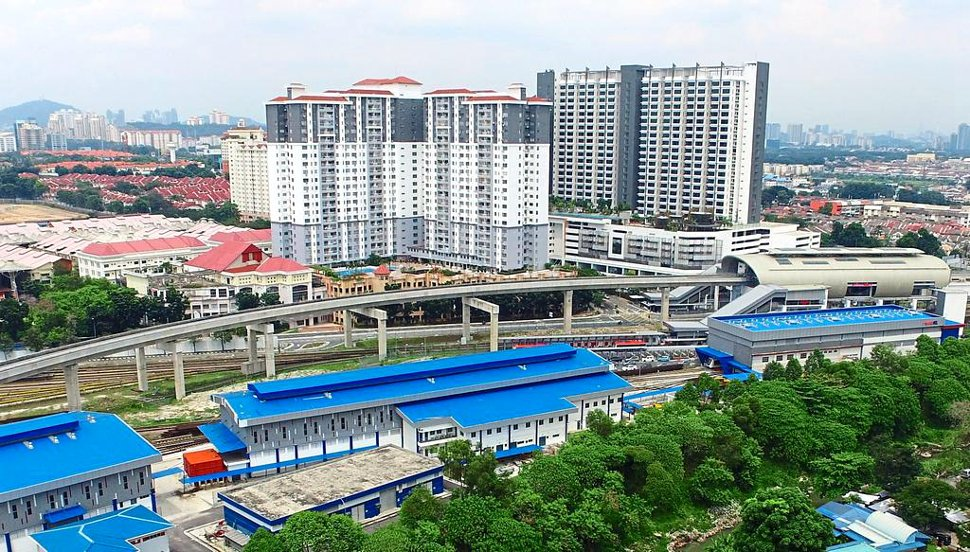 Aerial view of Ara Damansara LRT station