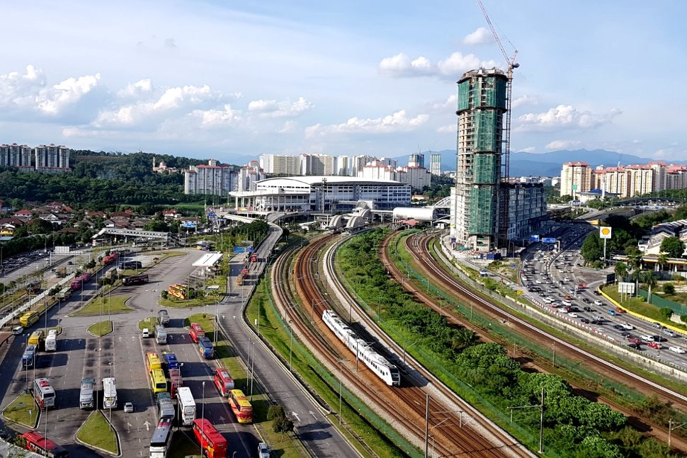 Aerial view of Bandar Tasik Selatan ERL station and its rail track
