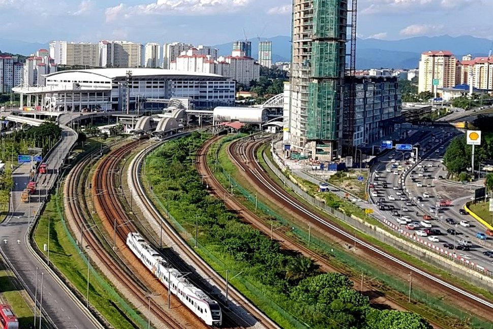 Aerial view of Bandar Tasik Selatan ERL, KTM Komuter, and LRT station