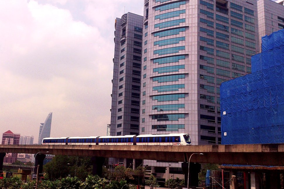 Train approaching Bangsar LRT Station