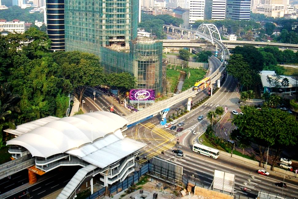 Aerial view of Bukit Nanas Monorail station