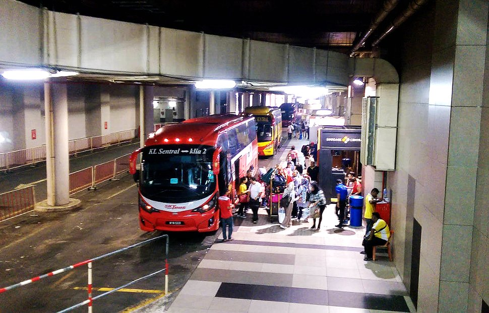 Bus boarding platforms at KL Sentral for airport-bound buses