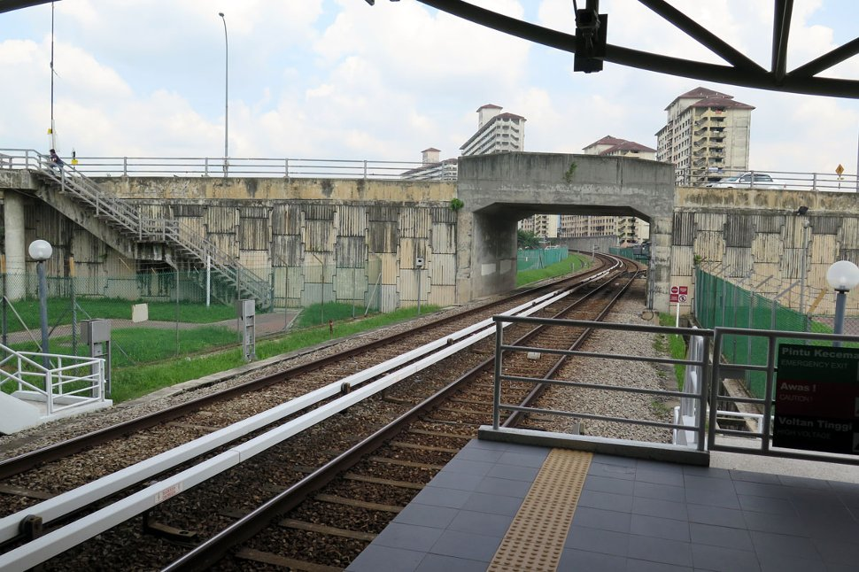 View of rail track from station