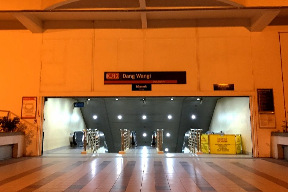 Escalator access to the concourse level of the Dang Wangi LRT Station
