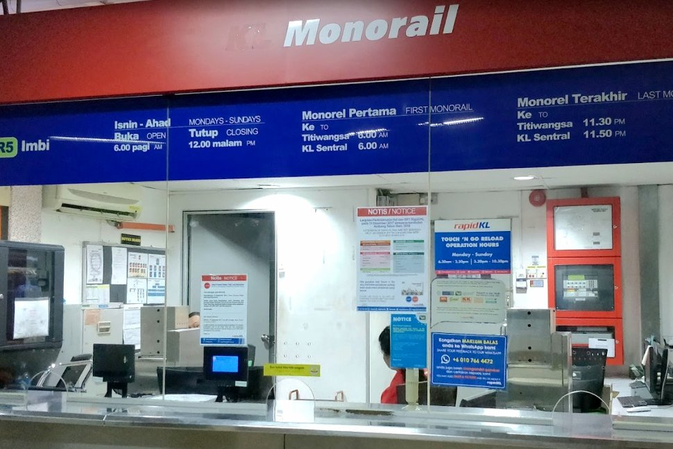 Ticket counter at the monorail station
