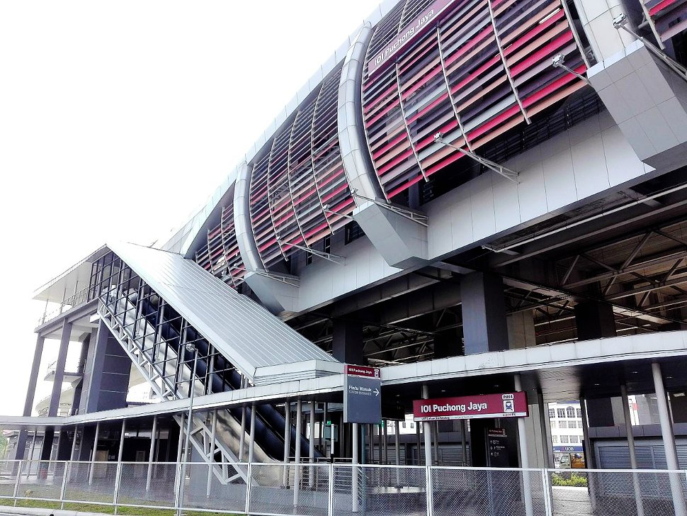 The exterior of the IOI Puchong Jaya LRT station