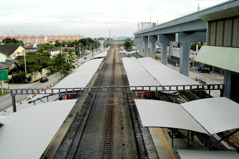View of the rail tracks and boarding platforms
