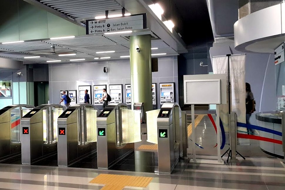Faregates and customer service office on the concourse level