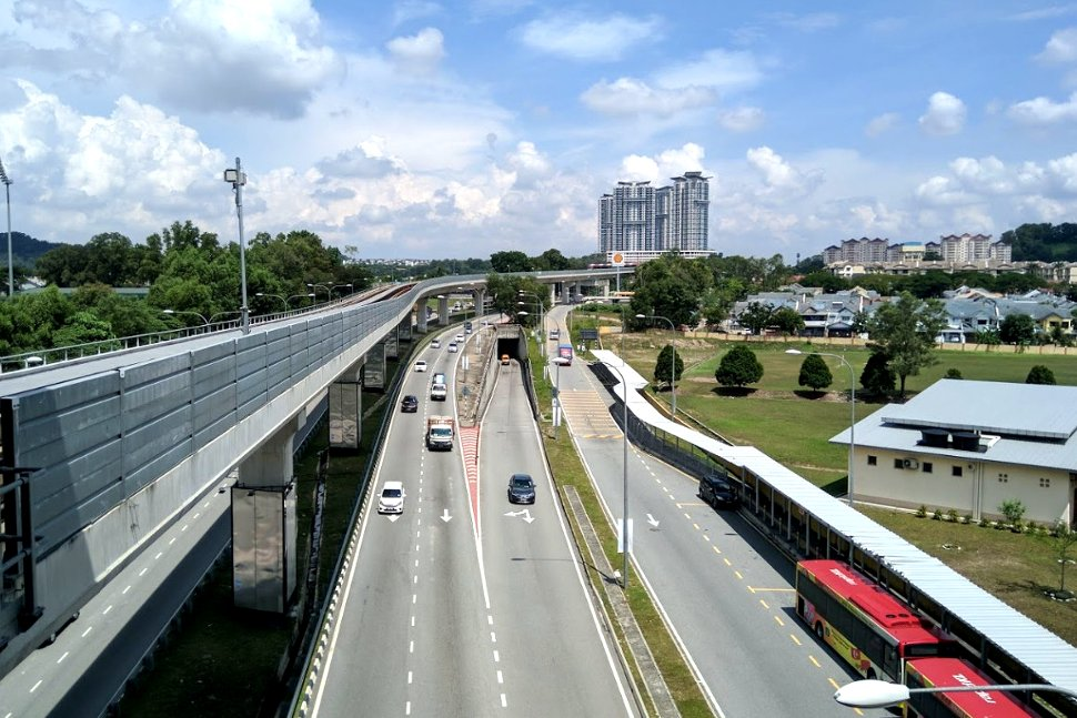 View of access road from boarding level at Kinrara BK5 LRT station