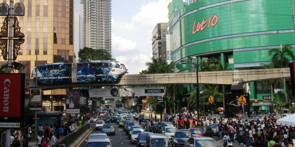 KL Monorail train crossing Bukit Bintang area
