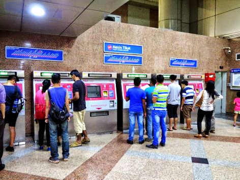 Ticketing machines at LRT station