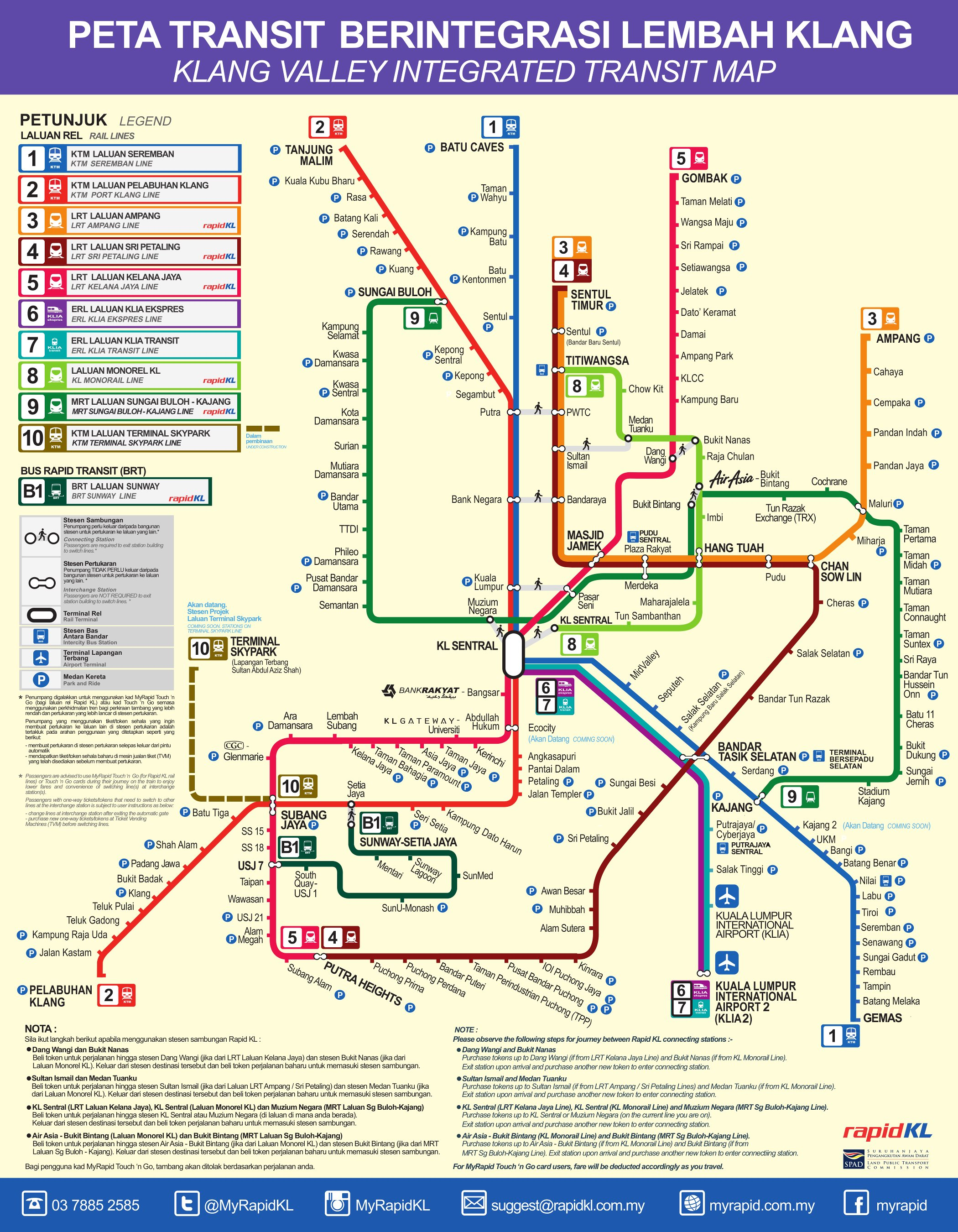 Lrt Route Map Malaysia Klang Valley / Greater Kuala Lumpur Integrated Rail System, the