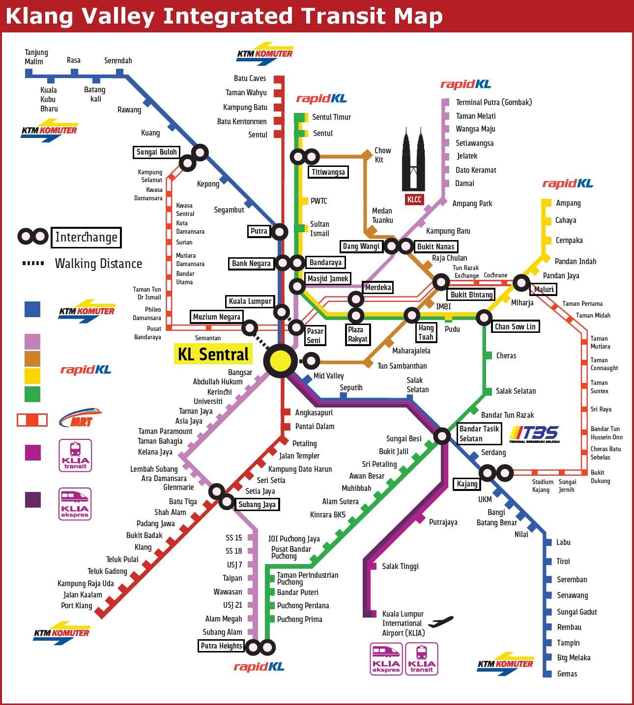 Kuala Lumpur Subway Map Pdf.Klang Valley Greater Kuala Lumpur Integrated Rail System The