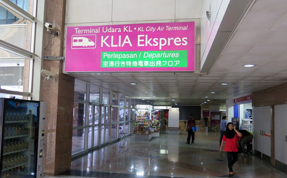 Walkway to the ticketing counter for the KLIA Ekspres