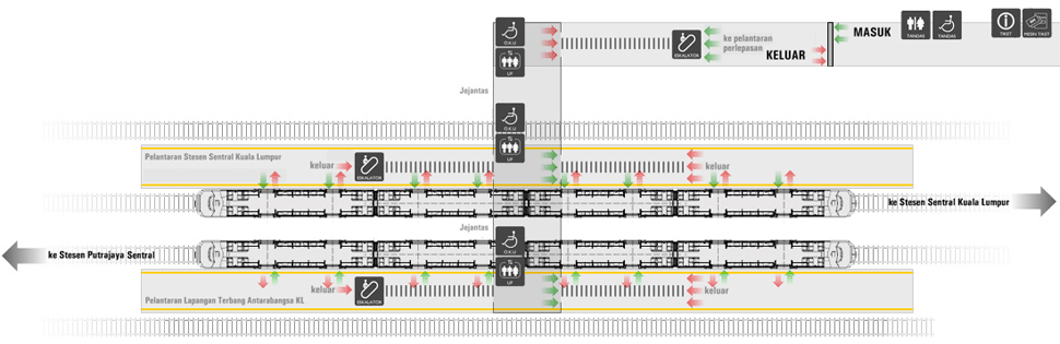 Layout plan of Bandar Tasik Selatan ERL station