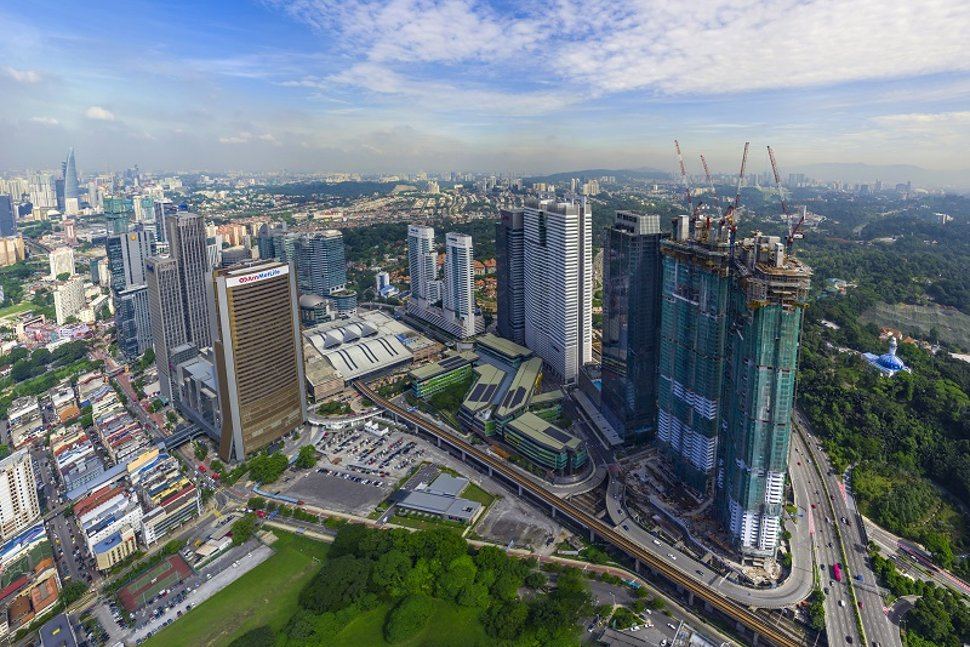 Aerial view of the KL Sentral and surrounding areas