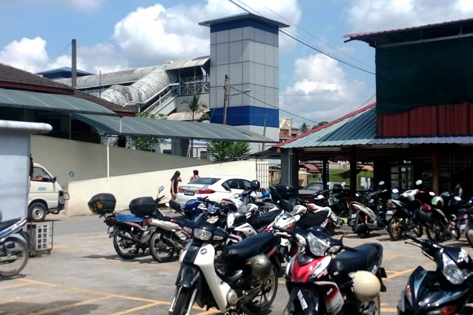 Motorcycles parking near the station