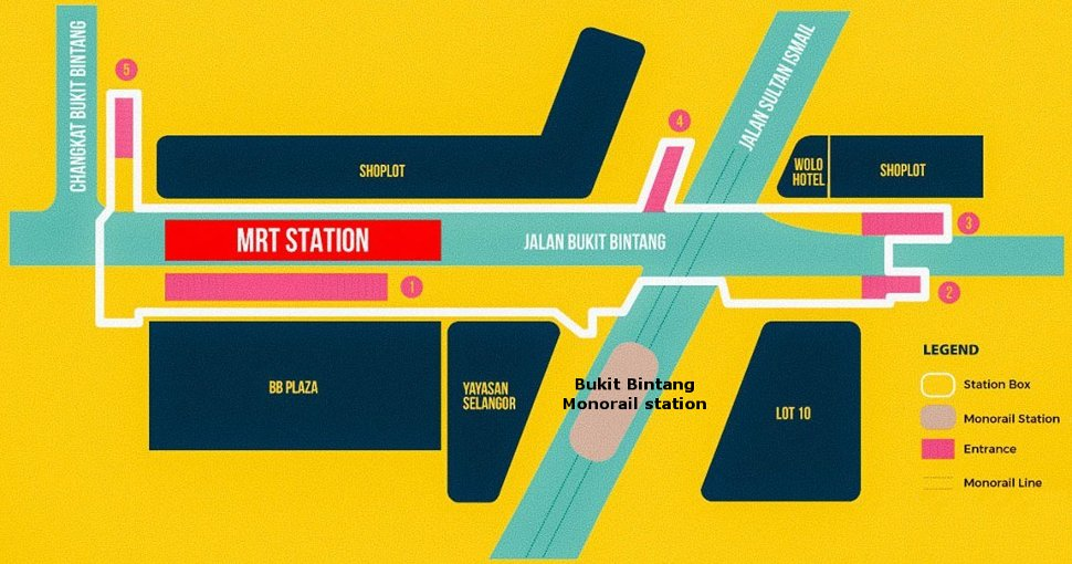 Layout of Bukit Bintang MRT and Monorail station