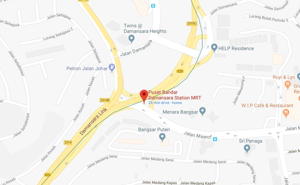 Location of Pusat Bandar Damansara MRT station