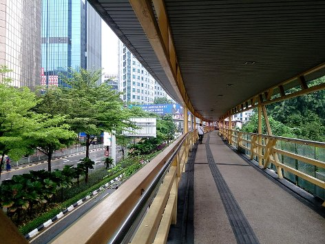 Pedestrian walk way from LRT station