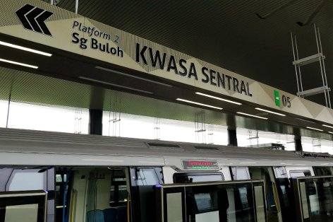 Platform 2 of Kwasa Sentral station towards Sungai Buloh