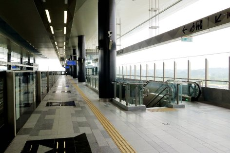 Platform 1 of Kwasa Sentral station towards Kajang