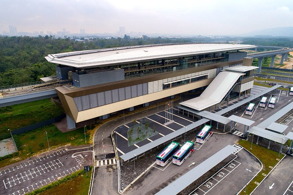 Aerial view of Kwasa Sentral MRT station