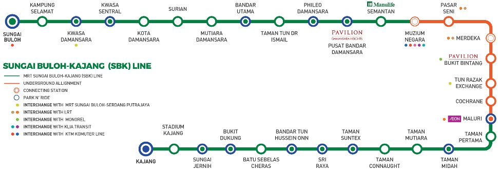 MRT Sungai Buloh-Kajang line alignment map