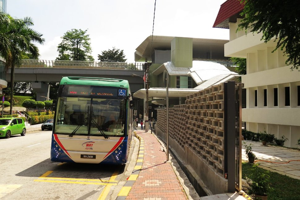 Feeder bus waiting at entrance B