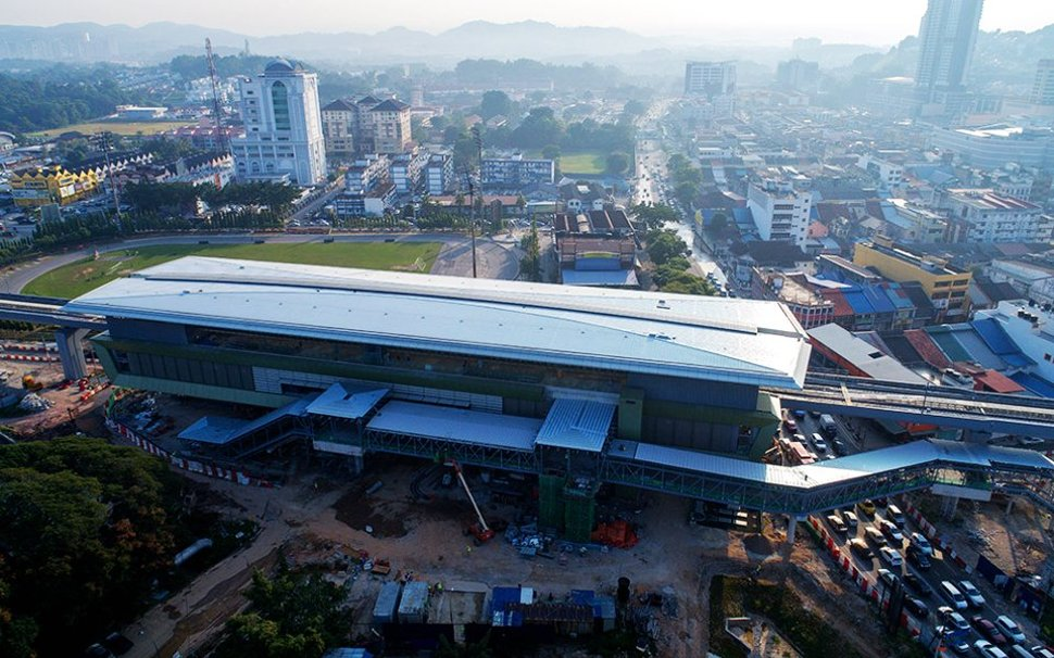 Aerial view of the Stadium Kajang MRT Station undergoing construction works