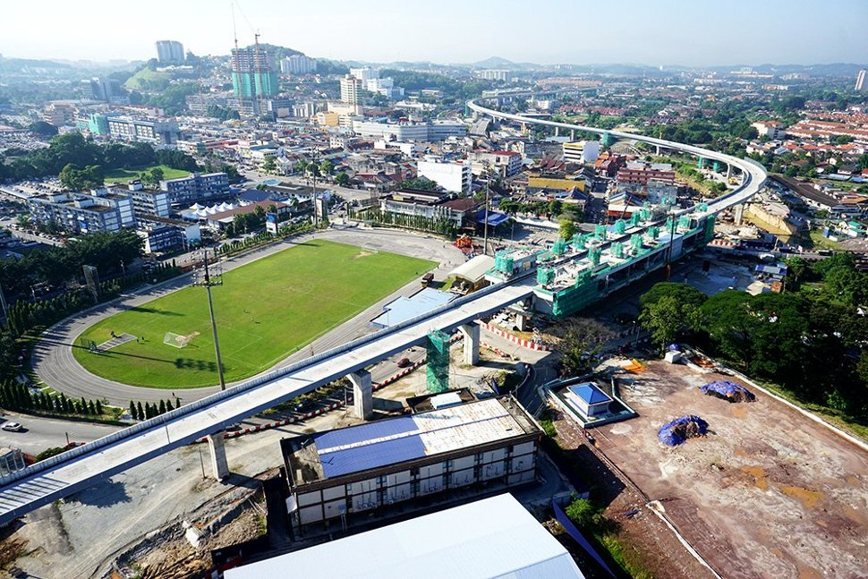 Aerial view of the construction of the Stadium Kajang Station in progress Aug 2015