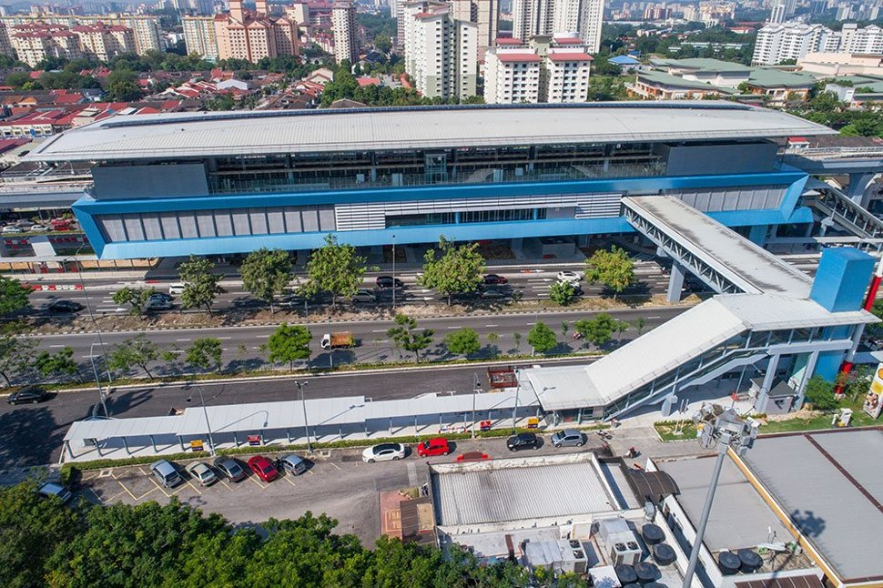 Aerial view of Taman Midah station showing the pedestrian bridge linking to entrance B
